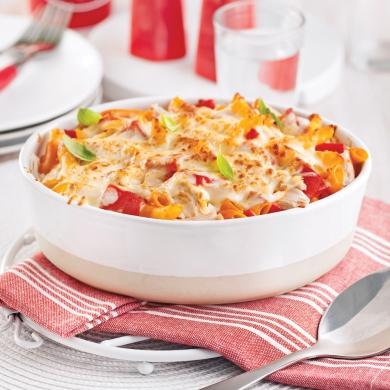 Gratin de pennes au poulet et poivrons r tis soupers de semaine recettes 5 15 recettes - Gratin de pates poulet ...