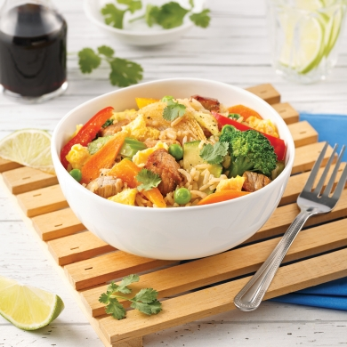 riz frit au porc et l gumes soupers de semaine recettes 5 15 recettes express 5 15. Black Bedroom Furniture Sets. Home Design Ideas