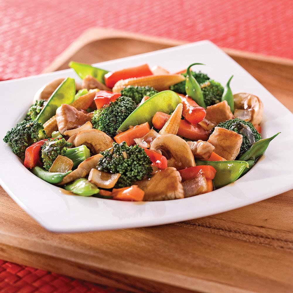 sauté de porc et légumes à l''asiatique - soupers de semaine