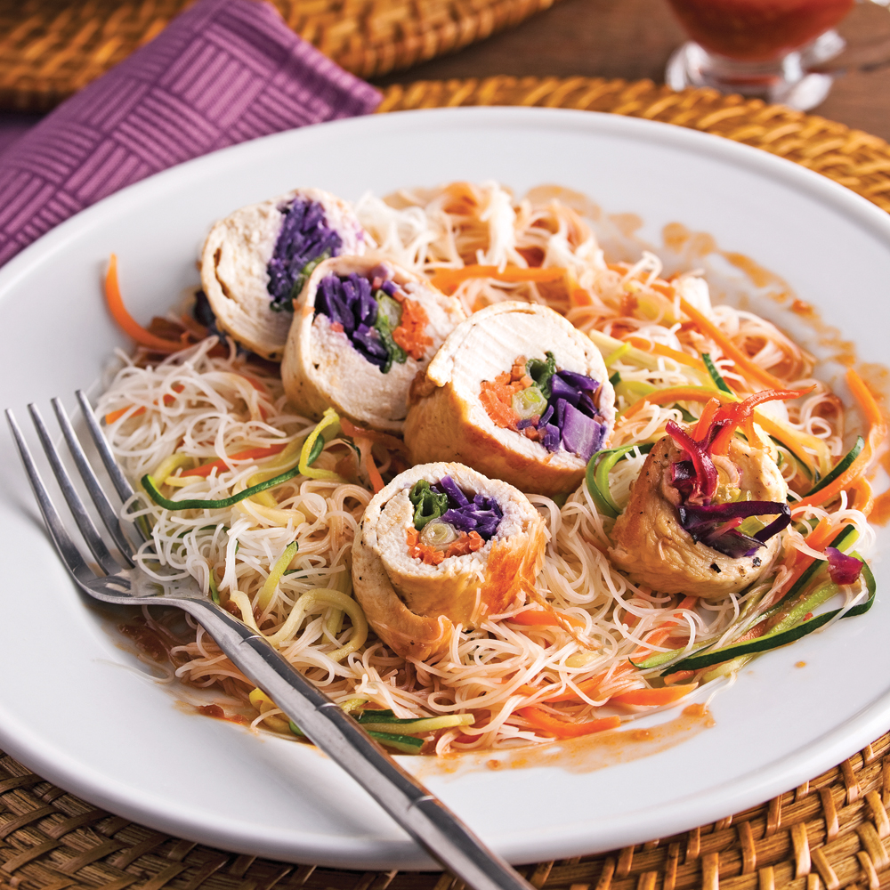 Rouleaux De Poulet Aux Légumes, Sauce Thaï