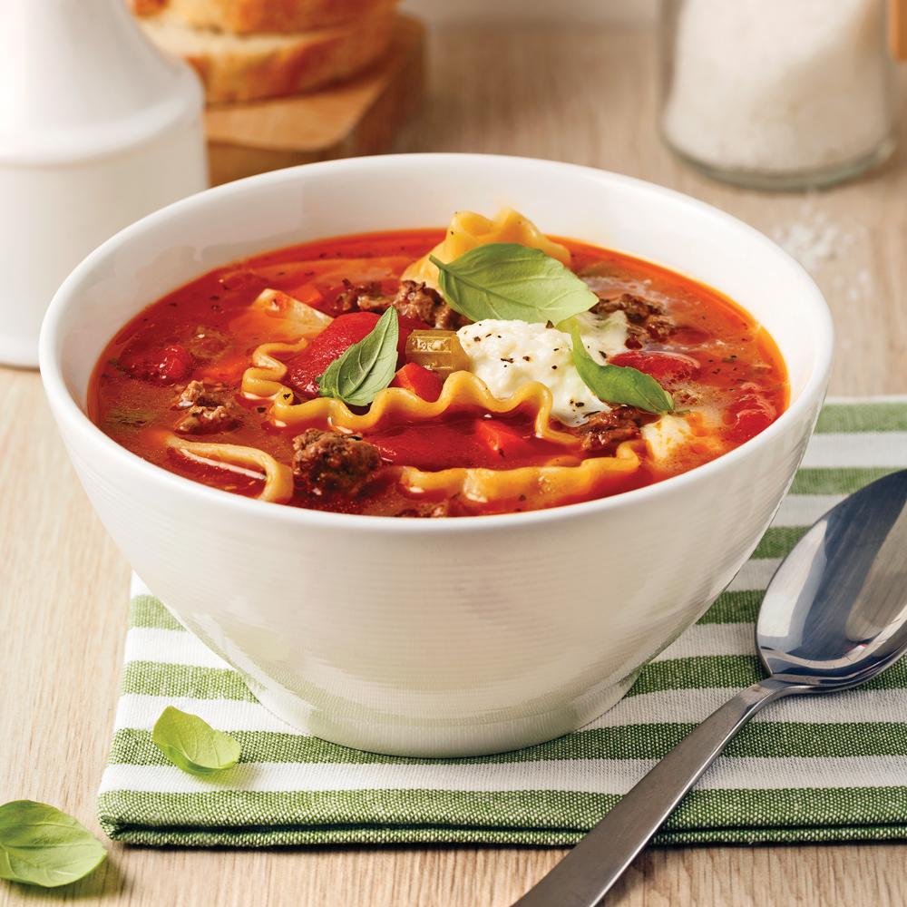 soupe la lasagne soupers de semaine recettes 5 15 recettes express 5 15 pratico pratique. Black Bedroom Furniture Sets. Home Design Ideas