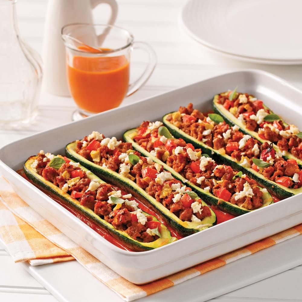 courgettes farcies la saucisse italienne et feta soupers de semaine recettes 5 15. Black Bedroom Furniture Sets. Home Design Ideas