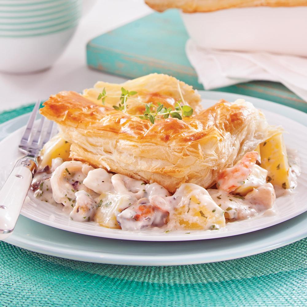 Tourte aux fruits de mer soupers de semaine recettes 5 15 recettes express 5 15 pratico - Pates aux fruits de mer vin blanc ...