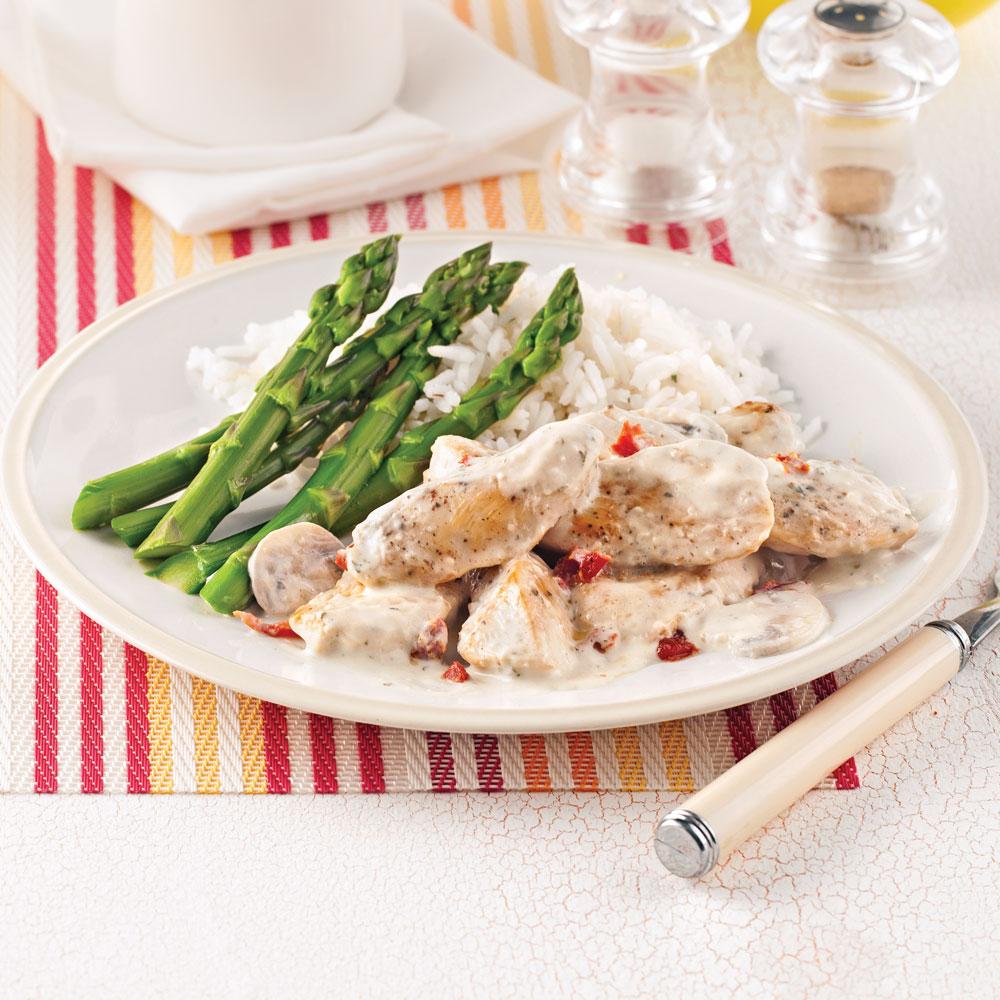Émincé de poulet aux champignons et tomates séchées - Soupers de semaine - Recettes 5-15 ...