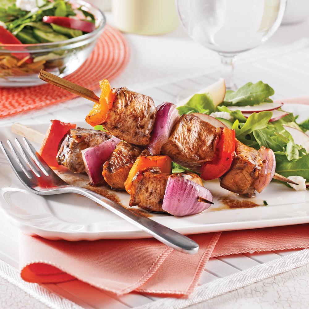 Brochettes de poulet rable et vinaigre balsamique soupers de semaine recettes 5 15 - Vinaigre balsamique calorie ...