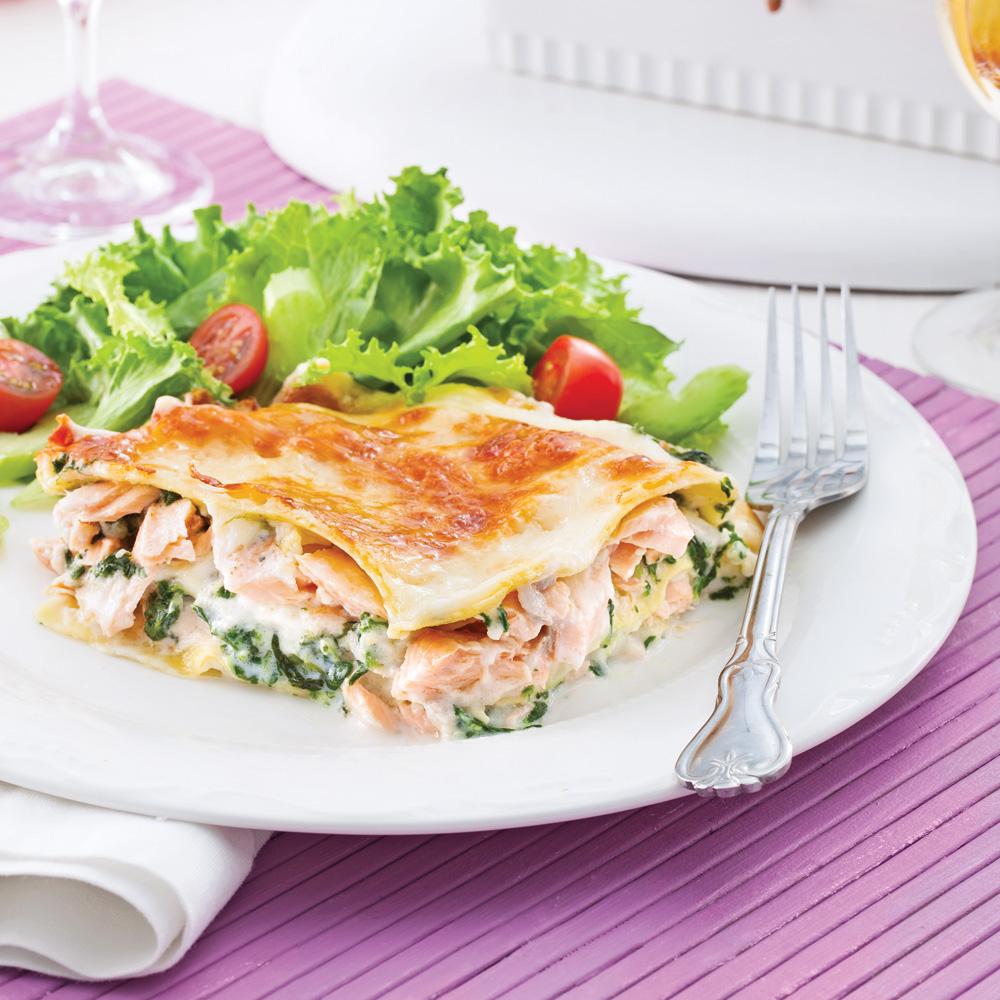 lasagne au saumon et pinards pour recevoir recettes 5 15 recettes express 5 15 pratico. Black Bedroom Furniture Sets. Home Design Ideas