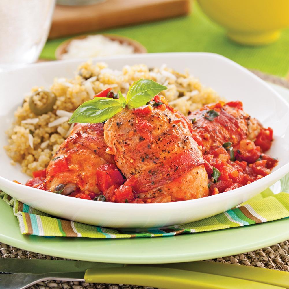 Hauts de cuisses tomates et bacon soupers de semaine - Cuisse de poulet calories ...